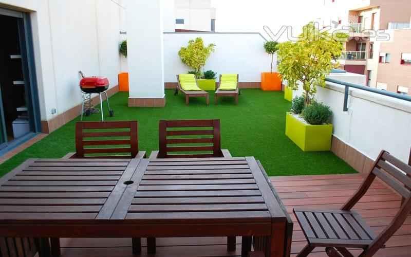 Césped artificial terraza