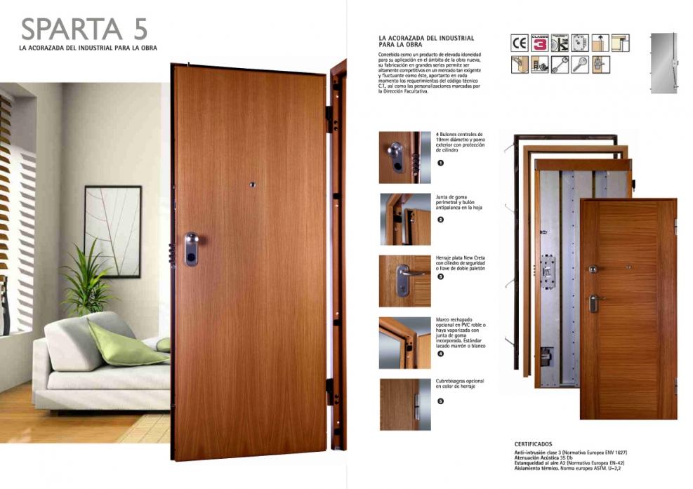 Puerta acorazada dierre sparta 5 agloma - Puertas de interior bricomart ...